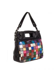 Черная сумка Eleganzza с отделкой из разноцветных кусочков натуральной кожи.  Дизайнерские.