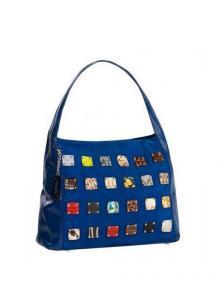Оригинальная синяя сумка Eleganzza с отделкой из разноцветных кусочков кожи.