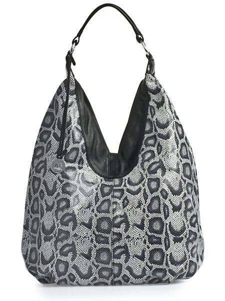 """Женские сумки.  Чёрно-белая кожаная сумка 007 954  """"под питона """" ."""