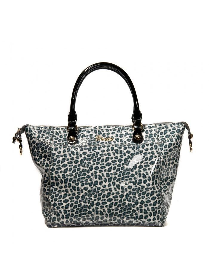Элегантная кожаная сумка Alessandro Birutti с леопардовым рисунком.