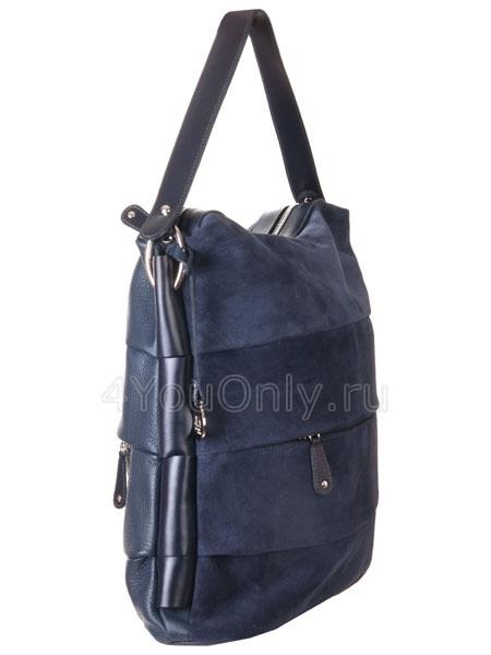 Женские сумки.  Синяя замшево-кожаная сумка AB 1510.  Каталог.