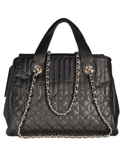 Стеганая кожаная сумка на цепочке Vita Pelle 3073-1 черная.