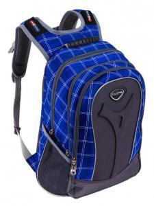 Детские.  Серо-синий рюкзак в клетку Polar для 5-10 класса с отделением для ноутбука.