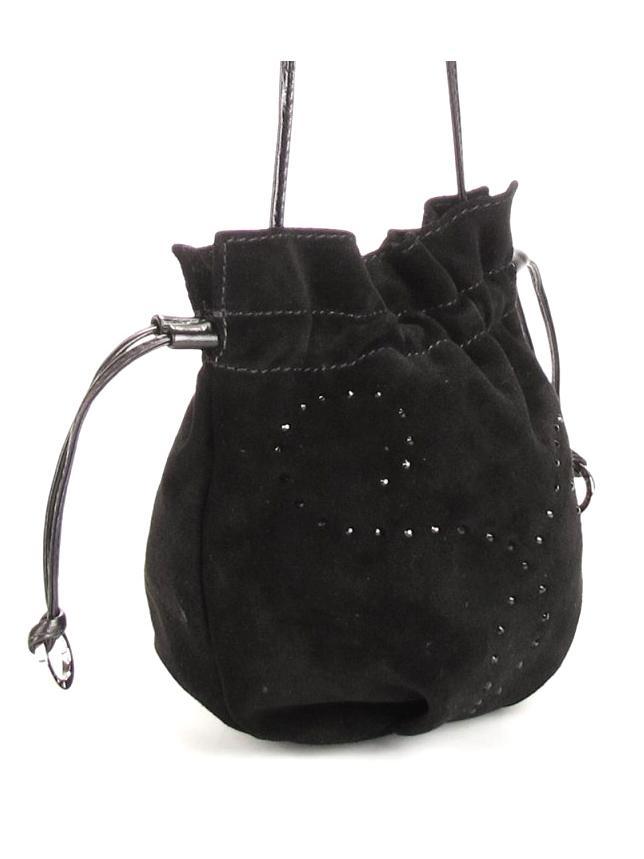 Черная замшевая сумка-мешок Palio со стразами.  Дизайнерские.