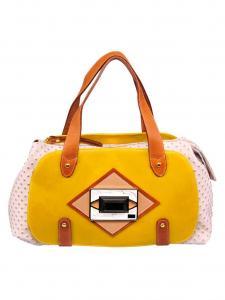 Узнать подробнее о Яркая желто-бежевая сумка Francesco с отделкой под страуса.