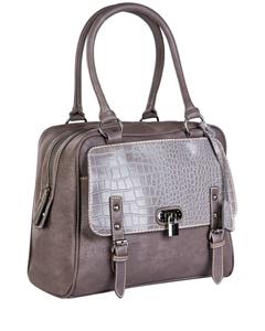Прямоугольная стильная сумочка Orsa Oro DK-288 из серой экокожи.