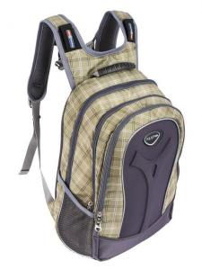 Серо-бежевый рюкзак в клетку Polar для 5-10 класса с отделением для ноутбука.
