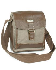 Коричневая сумка для документов Pola К8040 с отделкой из кожи.