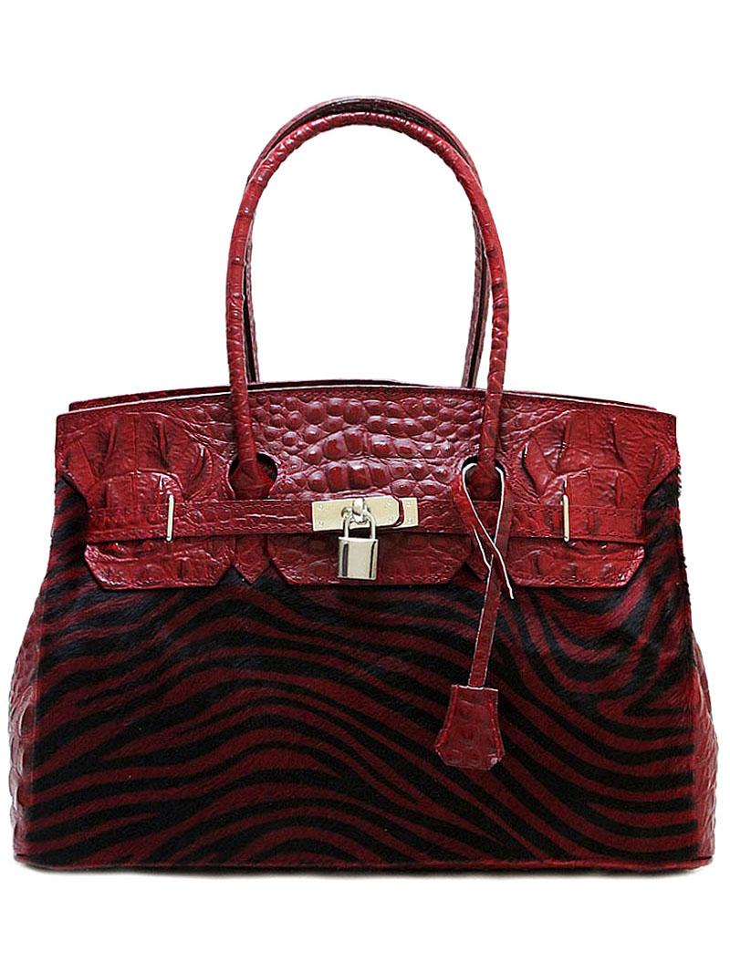 """Красная женская сумка Giglio Fiorentino 0003-22 из кожи """"Caiman"""" с мехоом пони Купить через каталог..."""