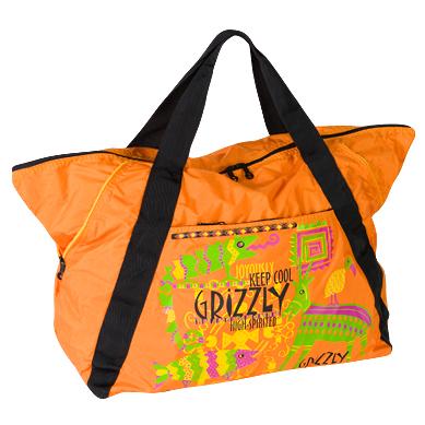 Оранжевая дорожная сумка из таслана со стильным рисунком.