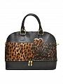 Женские сумки.  Вместительная сумка Giglio Fiorentino 0114-19 из кожи с мехом пони чёрного цвета.