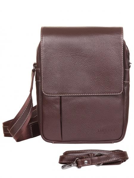 Сумка коричневая кожаная Tirelli 5181 на ремне.  Мужские сумки.