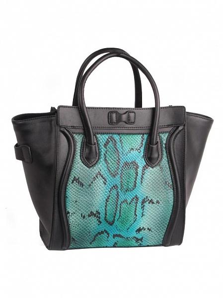 Стильная кожаная сумка Pola с имитацией под рептилию зеленая.  Дизайнерские.